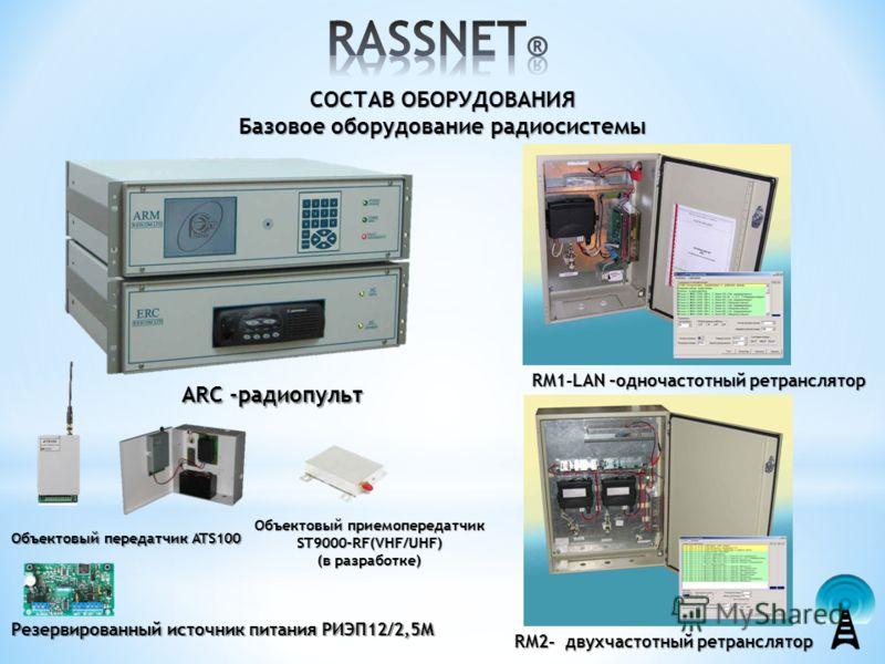 СОСТАВ ОБОРУДОВАНИЯ Базовое оборудование радиосистемы ARC -радиопульт RM1-LAN –одночастотный ретранслятор RM2- двухчастотный ретранслятор Объектовый передатчик ATS100 Резервированный источник питания РИЭП12/2,5М Объектовый приемопередатчик ST9000-RF(