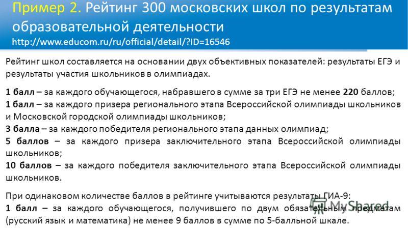 Пример 2. Рейтинг 300 московских школ по результатам образовательной деятельности http://www.educom.ru/ru/official/detail/?ID=16546 Рейтинг школ составляется на основании двух объективных показателей: результаты ЕГЭ и результаты участия школьников в