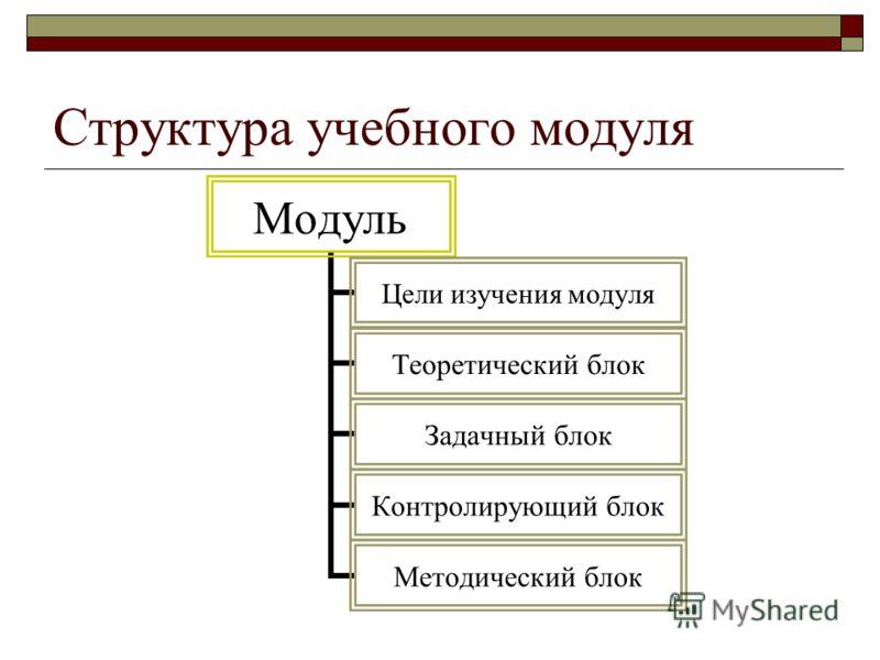 Структура учебного модуля Модуль Цели изучения модуля Теоретический блок Задачный блок Контролирующий блок Методический блок