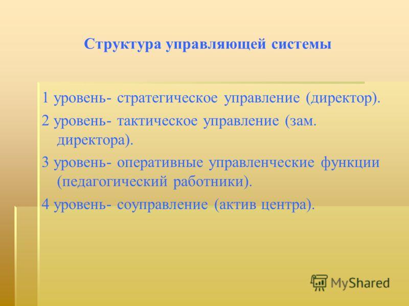 Структура управляющей системы 1 уровень- стратегическое управление (директор). 2 уровень- тактическое управление (зам. директора). 3 уровень- оперативные управленческие функции (педагогический работники). 4 уровень- соуправление (актив центра).