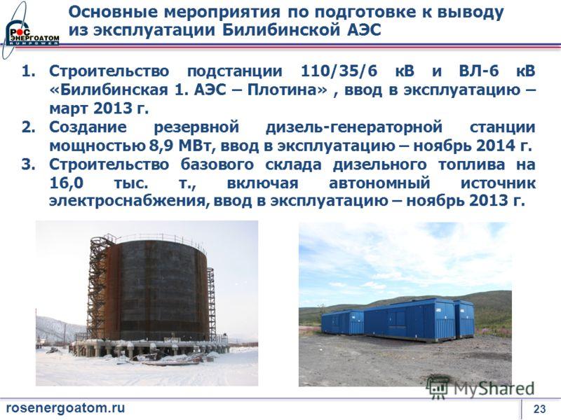 23 rosenergoatom.ru Основные мероприятия по подготовке к выводу из эксплуатации Билибинской АЭС 1.Строительство подстанции 110/35/6 кВ и ВЛ-6 кВ «Билибинская 1. АЭС – Плотина», ввод в эксплуатацию – март 2013 г. 2.Создание резервной дизель-генераторн