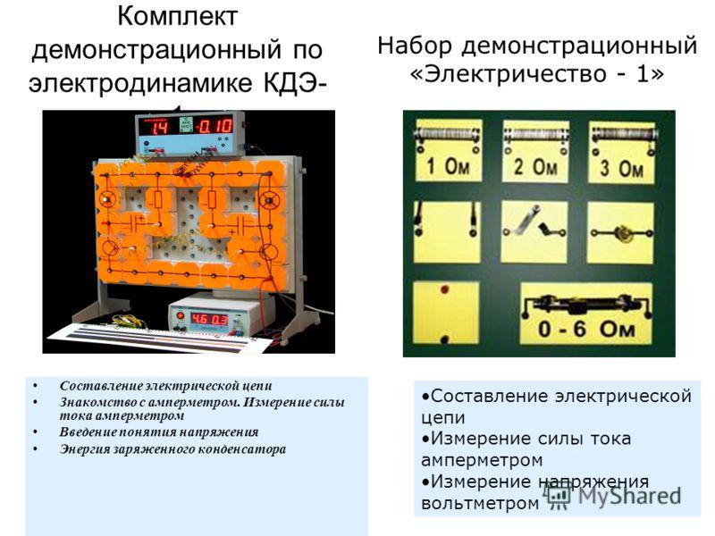 Комплект демонстрационный по электродинамике КДЭ- 1 Составление электрической цепи Знакомство с амперметром. Измерение силы тока амперметром Введение понятия напряжения Энергия заряженного конденсатора Набор демонстрационный «Электричество - 1» Соста