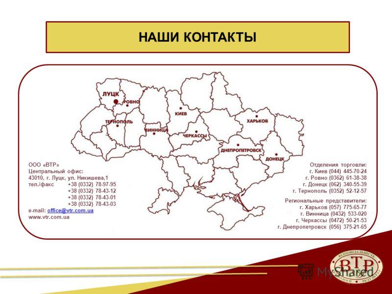 32 НАШИ КОНТАКТЫ Отделения торговли: г. Киев (044) 445-70-24 г. Ровно (0362) 61-38-38 г. Донецк (062) 340-55-39 г. Тернополь (0352) 52-12-57 Региональные представители: г. Харьков (057) 775-65-77 г. Винница (0432) 533-020 г. Черкассы (0472) 50-21-53