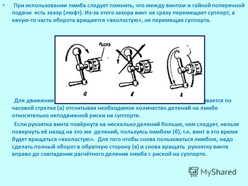 При использовании лимба следует помнить, что между винтом и гайкой поперечной подачи есть зазор (люфт). Из-за этого зазора винт не сразу перемещает суппорт, а какую-то часть оборота вращается «вхолостую», не перемещая суппорта. Для движения поперечно