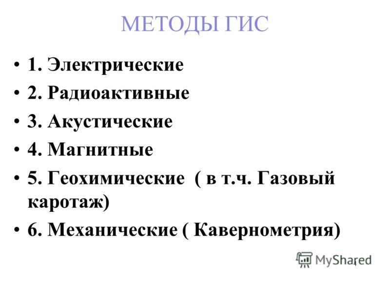 МЕТОДЫ ГИС 1. Электрические 2. Радиоактивные 3. Акустические 4. Магнитные 5. Геохимические ( в т.ч. Газовый каротаж) 6. Механические ( Кавернометрия) 4