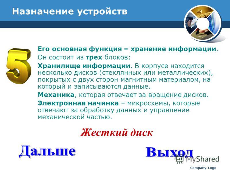 www.thmemgallery.com Company Logo Назначение устройств Его основная функция – хранение информации. Он состоит из трех блоков: Хранилище информации. В корпусе находится несколько дисков (стеклянных или металлических), покрытых с двух сторон магнитным