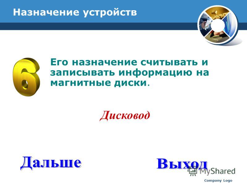 www.thmemgallery.com Company Logo Назначение устройств Его назначение считывать и записывать информацию на магнитные диски. Дисковод