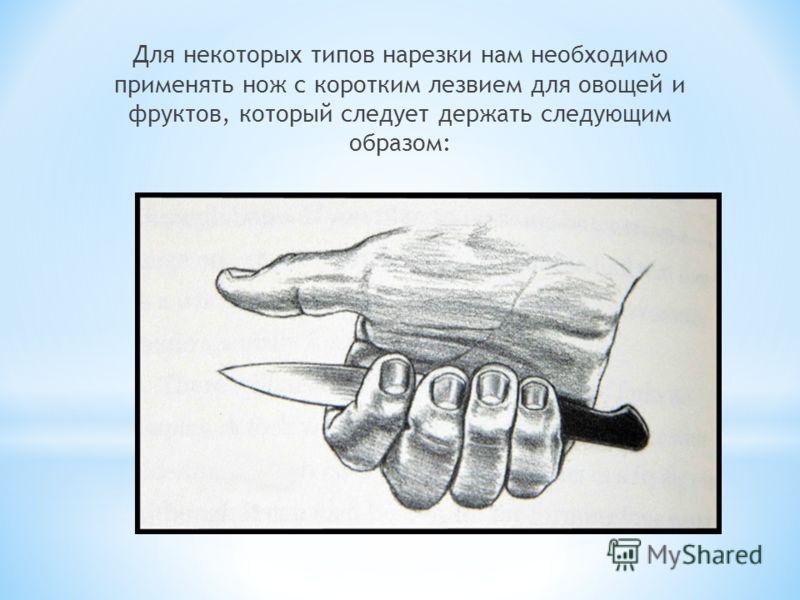 Для некоторых типов нарезки нам необходимо применять нож с коротким лезвием для овощей и фруктов, который следует держать следующим образом: