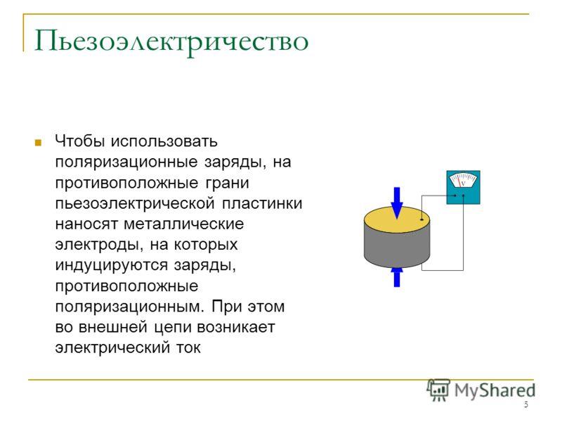 5 Чтобы использовать поляризационные заряды, на противоположные грани пьезоэлектрической пластинки наносят металлические электроды, на которых индуцируются заряды, противоположные поляризационным. При этом во внешней цепи возникает электрический ток