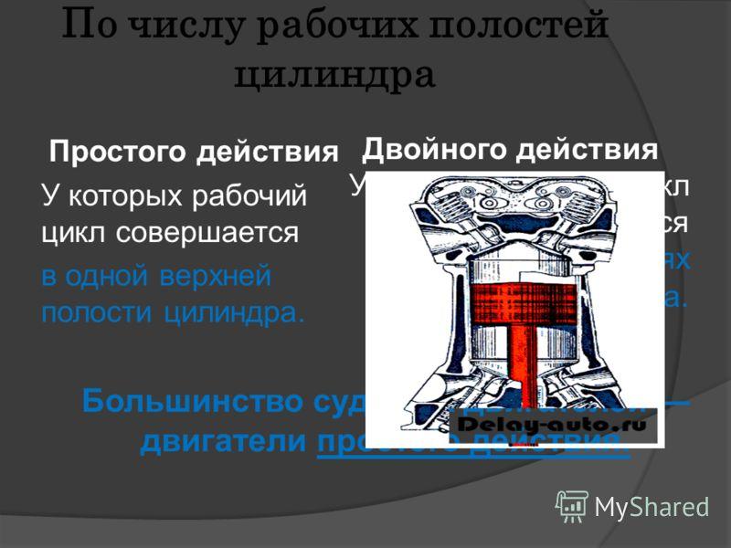 По числу рабочих полостей цилиндра Простого действия У которых рабочий цикл совершается в одной верхней полости цилиндра. Двойного действия У которых рабочий цикл совершается в обеих полостях цилиндра. Большинство судовых двигателей двигатели простог