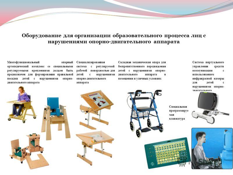 Оборудование для организации образовательного процесса лиц с нарушениями опорно-двигательного аппарата Многофункциональный опорный ортопедический комплекс со специальными регулируемыми креплениями должен быть предназначен для формирования правильной