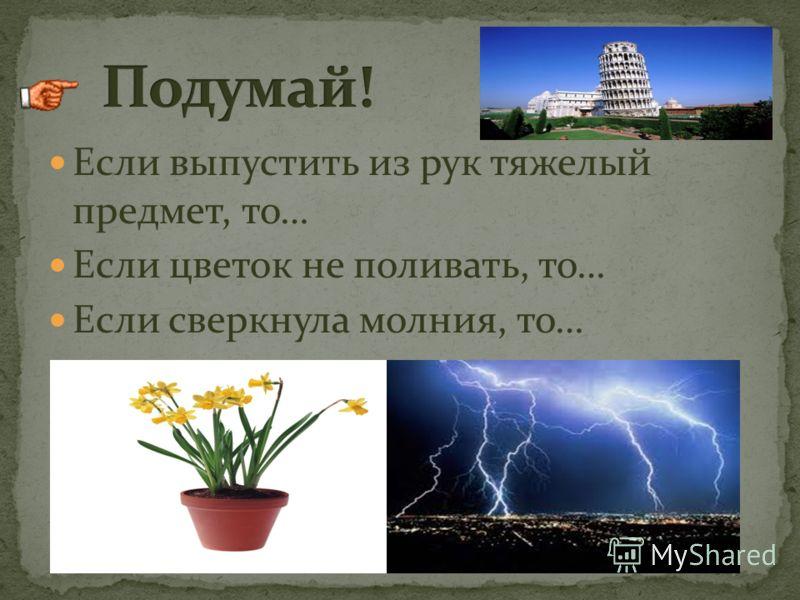 Если выпустить из рук тяжелый предмет, то… Если цветок не поливать, то… Если сверкнула молния, то…