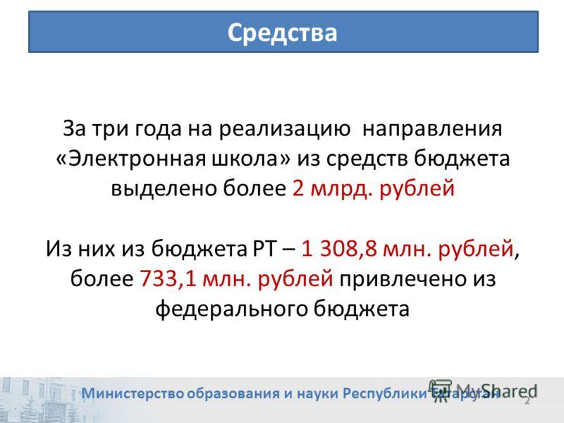 2 2 Средства За три года на реализацию направления «Электронная школа» из средств бюджета выделено более 2 млрд. рублей Из них из бюджета РТ – 1 308,8 млн. рублей, более 733,1 млн. рублей привлечено из федерального бюджета Министерство образования и