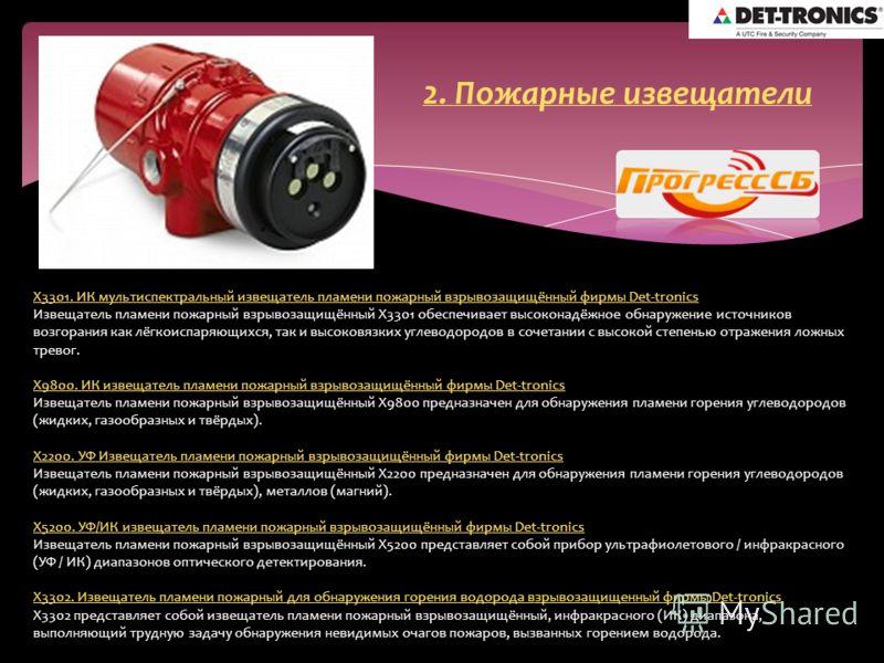 X3301. ИК мультиспектральный извещатель пламени пожарный взрывозащищённый фирмы Det-tronics Извещатель пламени пожарный взрывозащищённый X3301 обеспечивает высоконадёжное обнаружение источников возгорания как лёгкоиспаряющихся, так и высоковязких угл