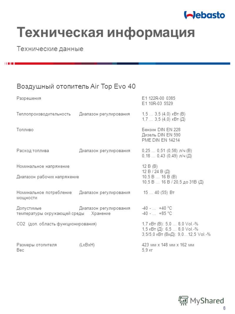 Техническая информация Технические данные Воздушный отопитель Air Top Evo 40 Разрешения E1 122R-00 0385 E1 10R-03 5529 Теплопроизводительность Диапазон регулирования1,5 … 3,5 (4,0) кВт (B) 1,7 … 3,5 (4,0) кВт (Д) ТопливоБензин DIN EN 228 Дизель DIN E