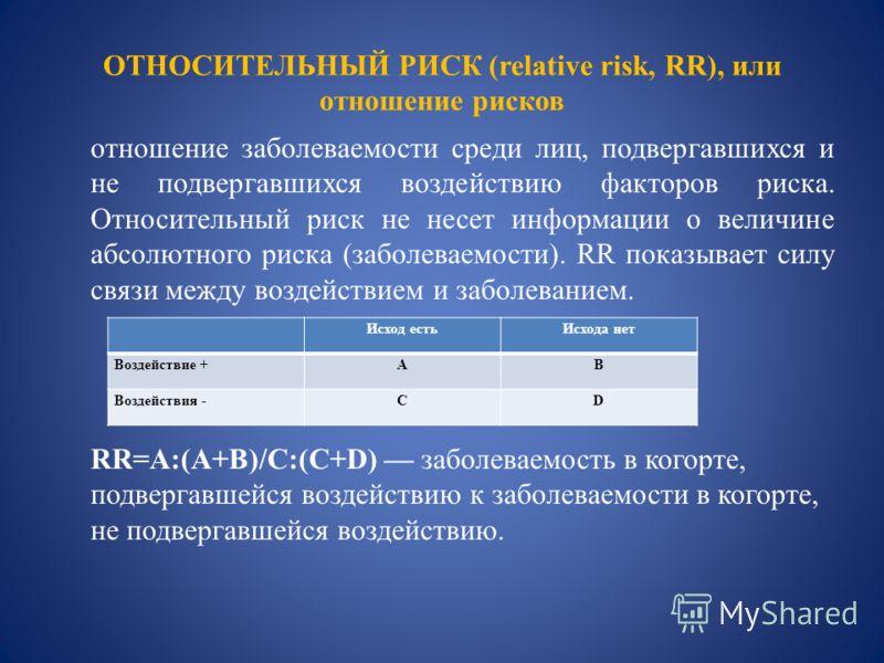 ОТНОСИТЕЛЬНЫЙ РИСК (relative risk, RR), или отношение рисков отношение заболеваемости среди лиц, подвергавшихся и не подвергавшихся воздействию факторов риска. Относительный риск не несет информации о величине абсолютного риска (заболеваемости). RR п
