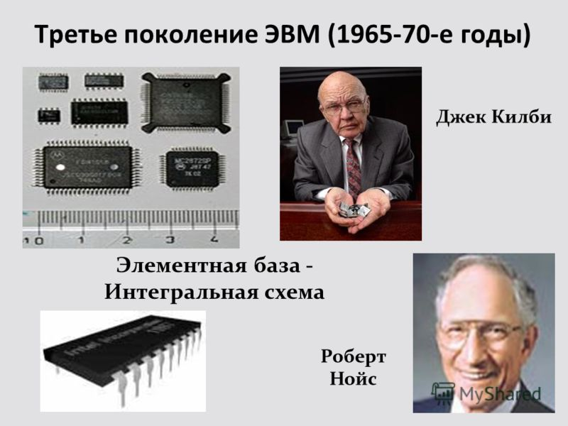 Третье поколение ЭВМ (1965-70-е годы) Роберт Нойс Элементная база - Интегральная схема Джек Килби