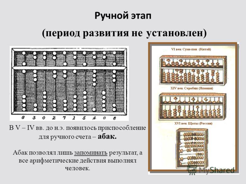 Ручной этап (период развития не установлен) В V – IV вв. до н.э. появилось приспособление для ручного счета – абак. Абак позволял лишь запоминать результат, а все арифметические действия выполнял человек.
