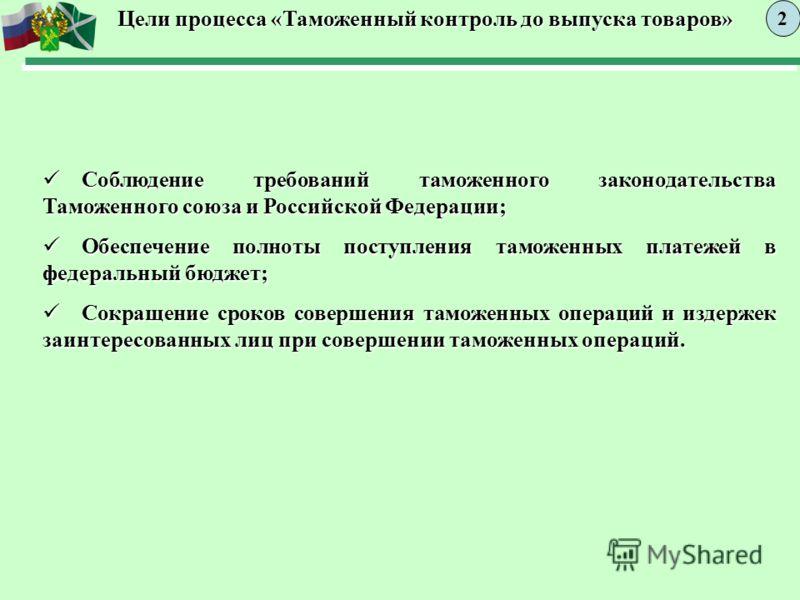Цели процесса «Таможенный контроль до выпуска товаров» 2 Соблюдение требований таможенного законодательства Таможенного союза и Российской Федерации; Соблюдение требований таможенного законодательства Таможенного союза и Российской Федерации; Обеспеч