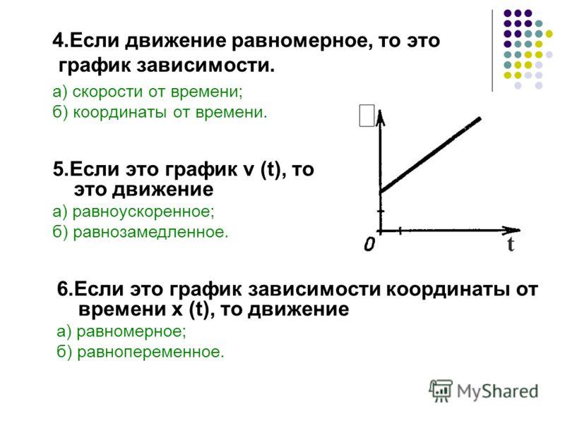 а) скорости от времени; б) координаты от времени. 6.Если это график зависимости координаты от времени x (t), то движение а) равномерное; б) равнопеременное. 4.Если движение равномерное, то это график зависимости. 5.Если это график v (t), то это движе