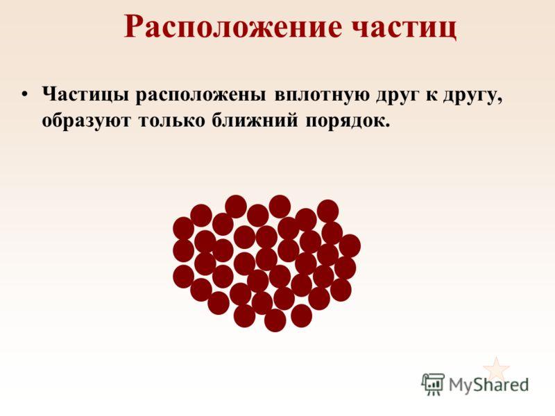 Расположение частиц Частицы расположены вплотную друг к другу, образуют только ближний порядок.