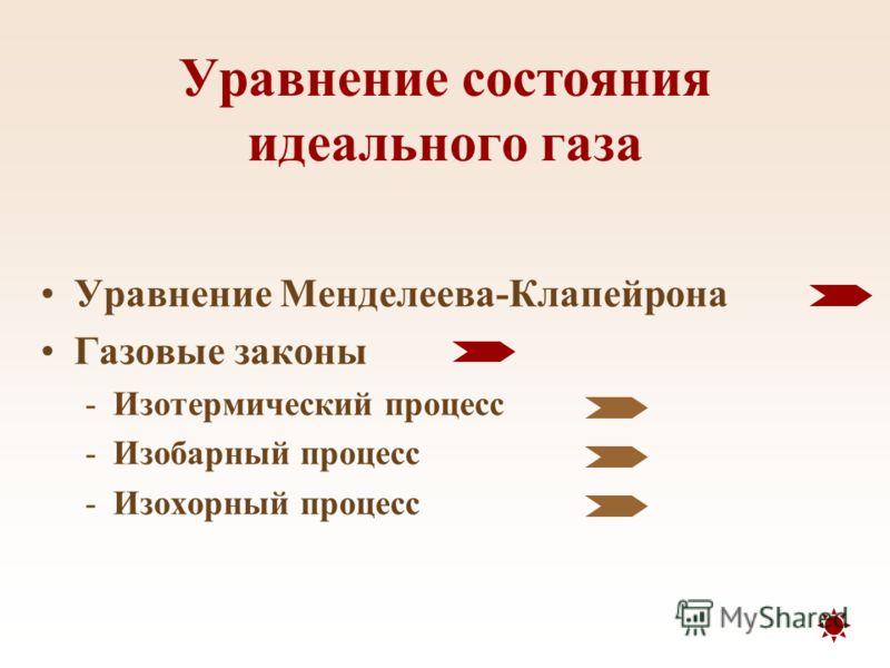 Уравнение состояния идеального газа Уравнение Менделеева-Клапейрона Газовые законы -Изотермический процесс -Изобарный процесс -Изохорный процесс