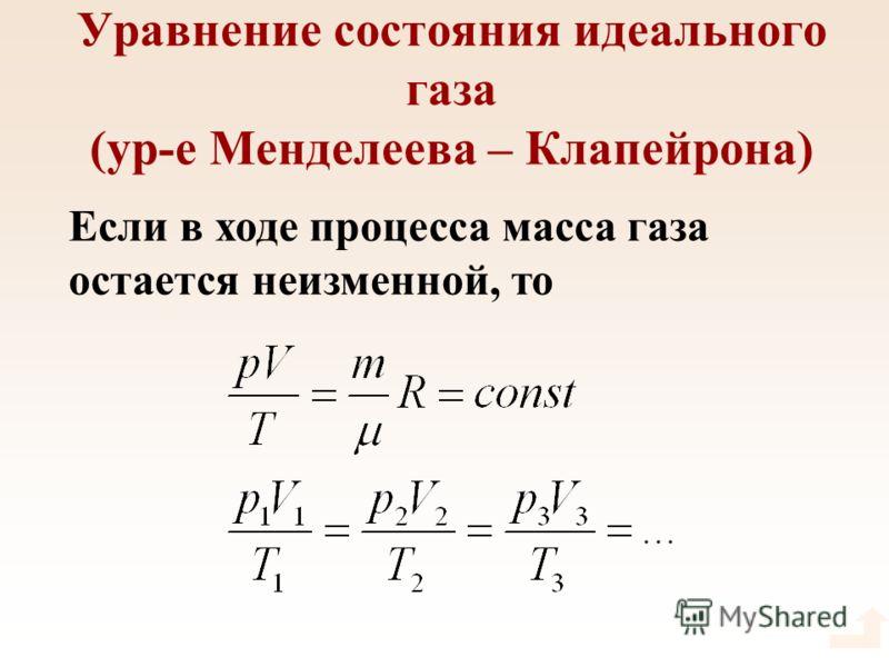 Уравнение состояния идеального газа (ур-е Менделеева – Клапейрона) Если в ходе процесса масса газа остается неизменной, то