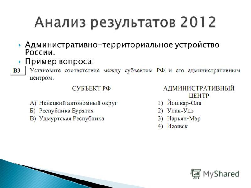 Административно-территориальное устройство России. Пример вопроса: