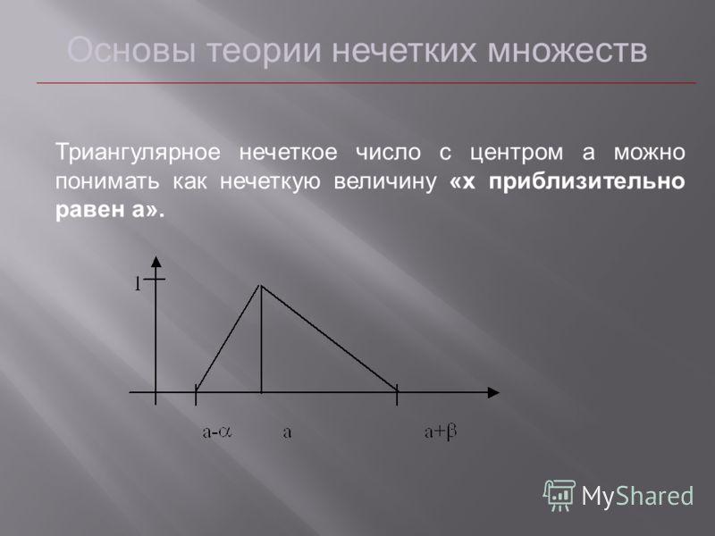 Основы теории нечетких множеств Триангулярное нечеткое число с центром a можно понимать как нечеткую величину «x приблизительно равен a».