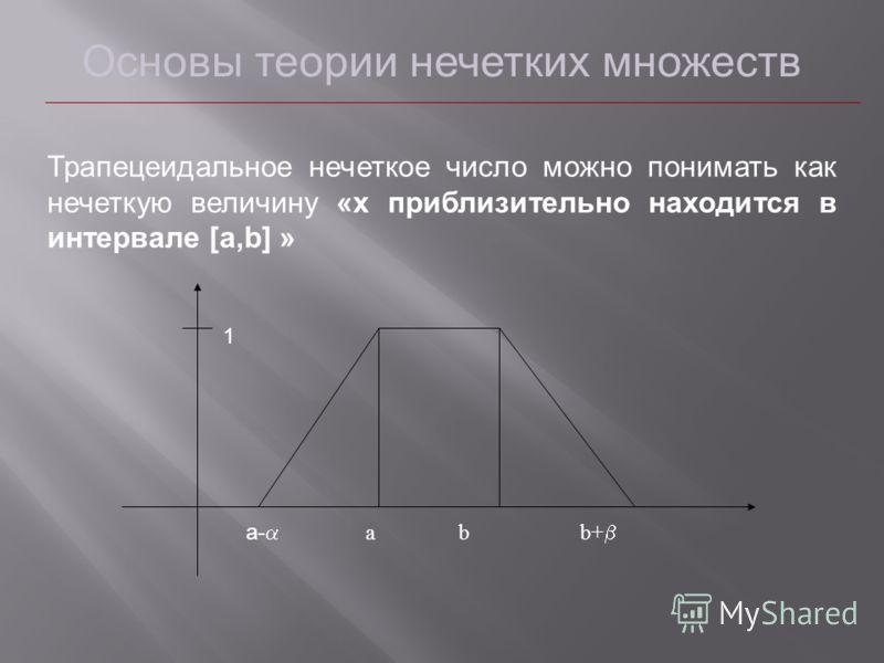Основы теории нечетких множеств Трапецеидальное нечеткое число можно понимать как нечеткую величину «x приблизительно находится в интервале [a,b] » а- а b b+ 1