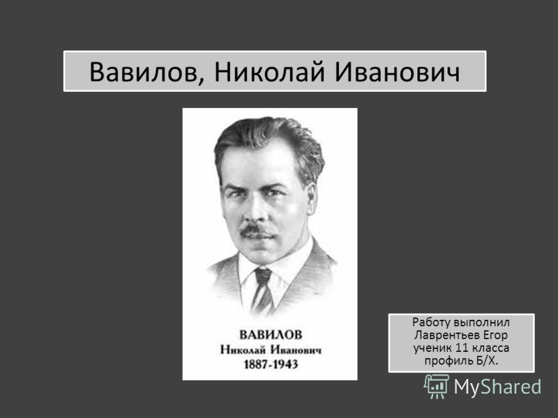 Вавилов, Николай Иванович Работу выполнил Лаврентьев Егор ученик 11 класса профиль Б/Х.