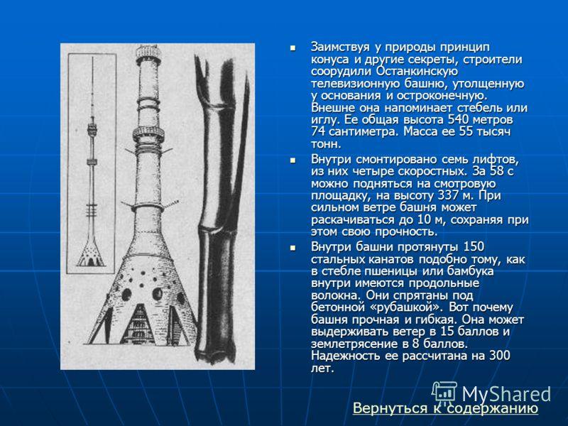 Заимствуя у природы принцип конуса и другие секреты, строители соорудили Останкинскую телевизионную башню, утолщенную у основания и остроконечную. Внешне она напоминает стебель или иглу. Ее общая высота 540 метров 74 сантиметра. Масса ее 55 тысяч тон