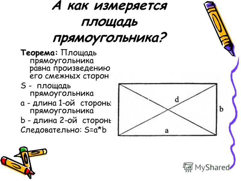 А как измеряется площадь прямоугольника? Теорема: Теорема: Площадь прямоугольника равна произведению его смежных сторон S - площадь прямоугольника a - длина 1-ой стороны прямоугольника b - длина 2-ой стороны Следовательно: S=a*b