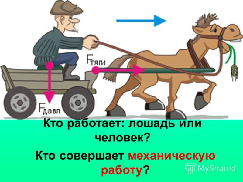 Кто работает: лошадь или человек? Кто совершает механическую работу?