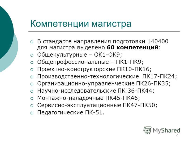 7 Компетенции магистра В стандарте направления подготовки 140400 для магистра выделено 60 компетенций: Общекультурные – ОК1-ОК9; Общепрофессиональные – ПК1-ПК9; Проектно-конструкторские ПК10-ПК16; Производственно-технологические ПК17-ПК24; Организаци