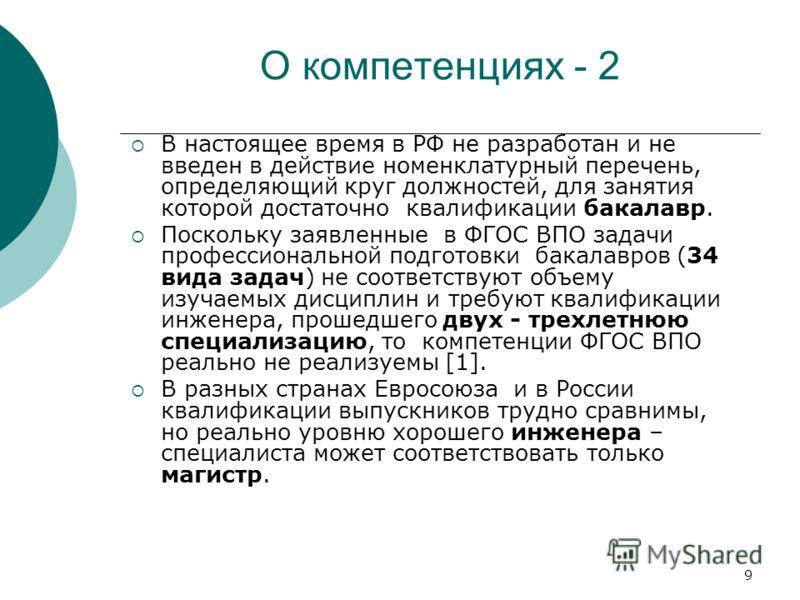 9 О компетенциях - 2 В настоящее время в РФ не разработан и не введен в действие номенклатурный перечень, определяющий круг должностей, для занятия которой достаточно квалификации бакалавр. Поскольку заявленные в ФГОС ВПО задачи профессиональной подг
