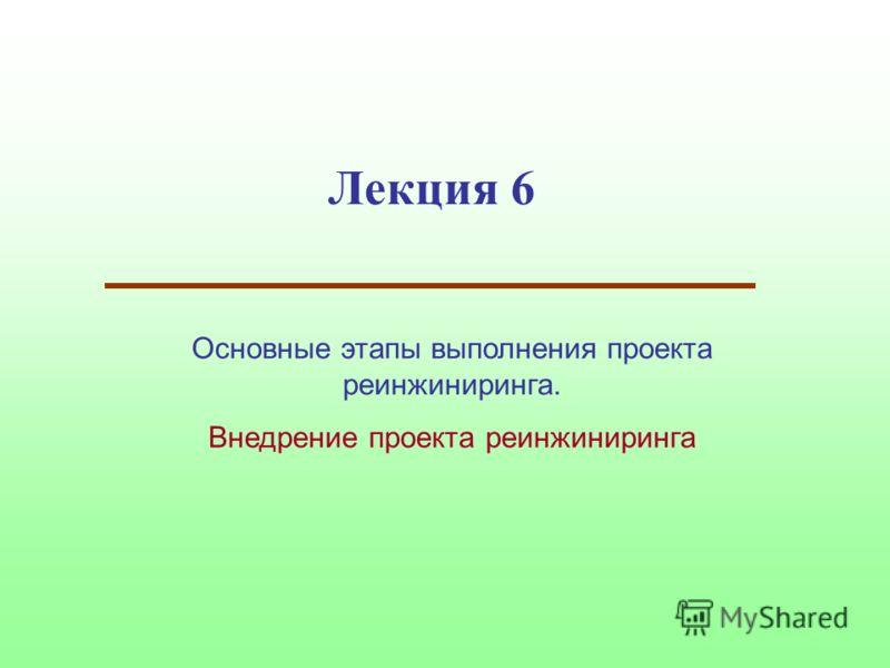 Лекция 6 Основные этапы выполнения проекта реинжиниринга. Внедрение проекта реинжиниринга