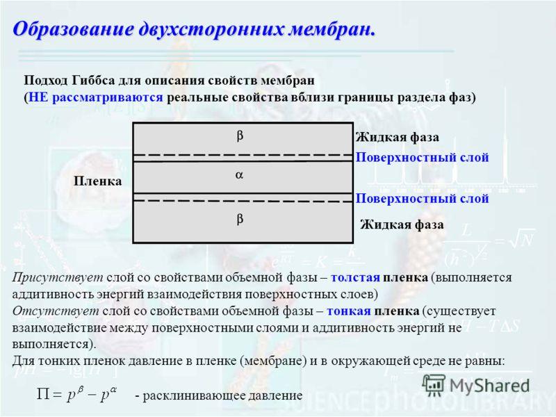 Образование двухсторонних мембран. Пленка Жидкая фаза Поверхностный слой Подход Гиббса для описания свойств мембран (НЕ рассматриваются реальные свойства вблизи границы раздела фаз) Присутствует слой со свойствами объемной фазы – толстая пленка (выпо