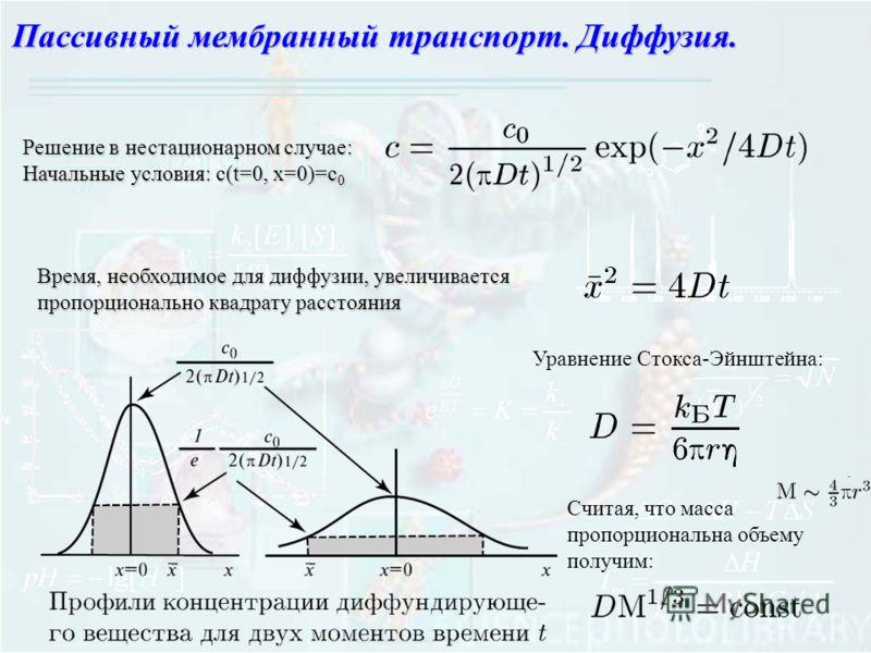 Пассивный мембранный транспорт. Диффузия. Решение в нестационарном случае: Начальные условия: с(t=0, x=0)=c 0 Время, необходимое для диффузии, увеличивается пропорционально квадрату расстояния Уравнение Стокса-Эйнштейна: Считая, что масса пропорциона