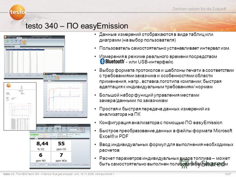 18/27testo AG, Zeichen setzen für die Zukunft The NEW testo 340 - 4 Sensor flue gas analyzer, wmi, 18.11.2009, Vertraulichkeit 1 Данные измерений отображаются в виде таблиц или диаграмм (на выбор пользователя) Пользователь самостоятельно устанавливае