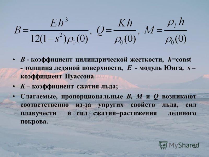 B - коэффициент цилиндрической жесткости, h=const - толщина ледяной поверхности, E - модуль Юнга, s – коэффициент Пуассона K – коэффициент сжатия льда; Слагаемые, пропорциональные B, M и Q возникают соответственно из-за упругих свойств льда, сил плав