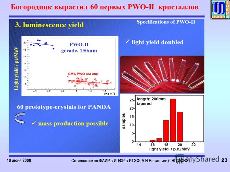 18 июня 2008 Совещание по ФАИР в ИЦФР в ИТЭФ, А.Н.Васильев (ГНЦ ИФВЭ) 23 Богородицк вырастил 60 первых PWO-II кристаллов