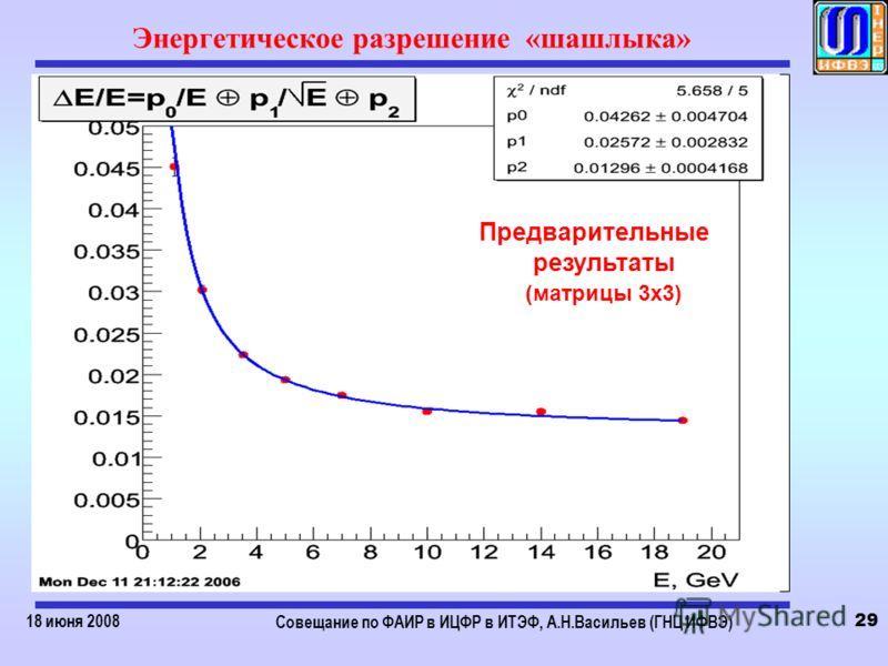 18 июня 2008 Совещание по ФАИР в ИЦФР в ИТЭФ, А.Н.Васильев (ГНЦ ИФВЭ) 29 Энергетическое разрешение «шашлыка» Предварительные результаты (матрицы 3х3)