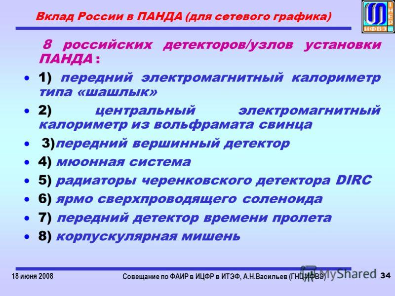 18 июня 2008 Совещание по ФАИР в ИЦФР в ИТЭФ, А.Н.Васильев (ГНЦ ИФВЭ) 34 Вклад России в ПАНДА (для сетевого графика) 8 российских детекторов/узлов установки ПАНДА : 1) передний электромагнитный калориметр типа «шашлык» 2) центральный электромагнитный