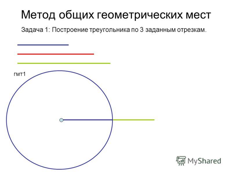 Метод общих геометрических мест Задача 1: Построение треугольника по 3 заданным отрезкам. гмт1
