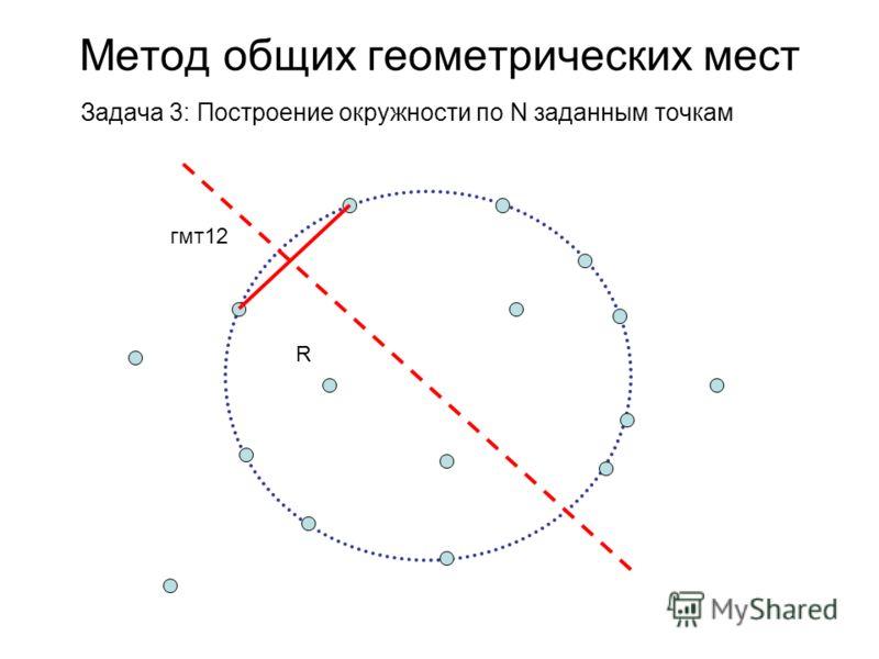 Метод общих геометрических мест Задача 3: Построение окружности по N заданным точкам гмт12 R