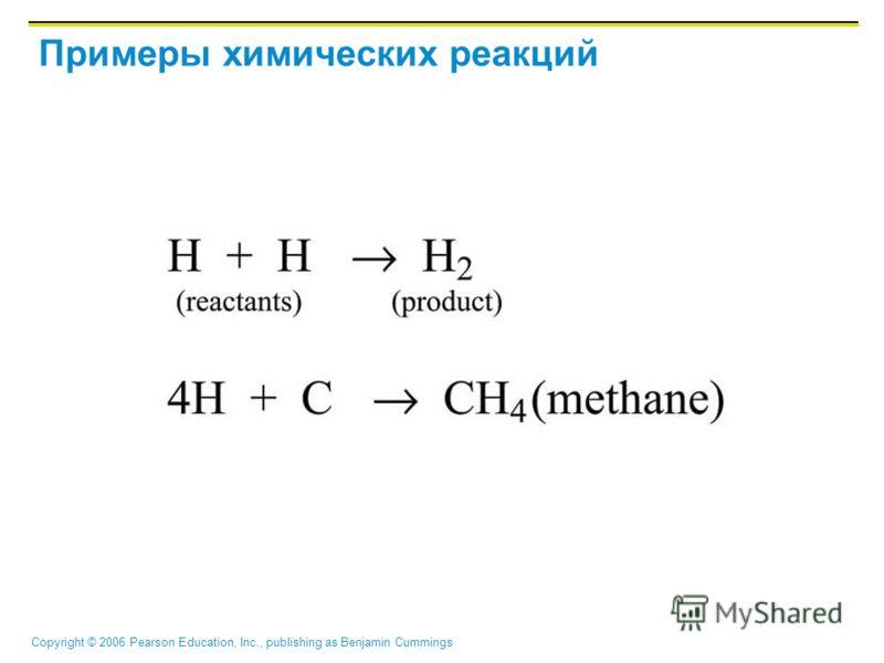 Copyright © 2006 Pearson Education, Inc., publishing as Benjamin Cummings Примеры химических реакций