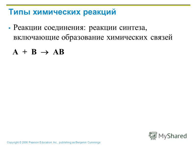 Copyright © 2006 Pearson Education, Inc., publishing as Benjamin Cummings Типы химических реакций Реакции соединения: реакции синтеза, включающие образование химических связей A + B AB