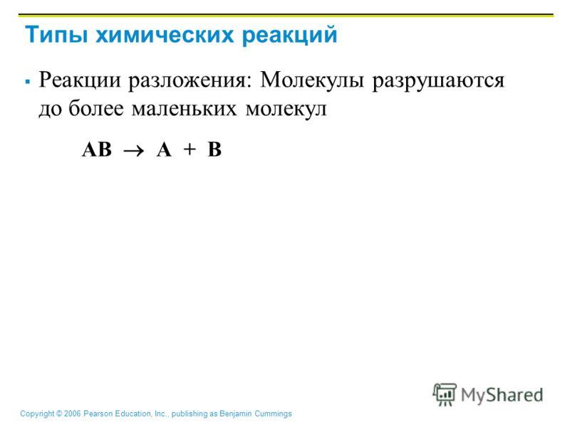 Copyright © 2006 Pearson Education, Inc., publishing as Benjamin Cummings Типы химических реакций Реакции разложения: Молекулы разрушаются до более маленьких молекул AB A + B