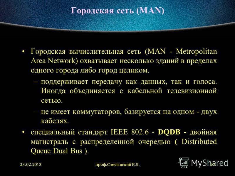 23.02.2013проф.Смелянский Р.Л.25 Городская сеть (MAN) Городская вычислительная сеть (MAN - Metropolitan Area Network) охватывает несколько зданий в пределах одного города либо город целиком. –поддерживает передачу как данных, так и голоса. Иногда объ